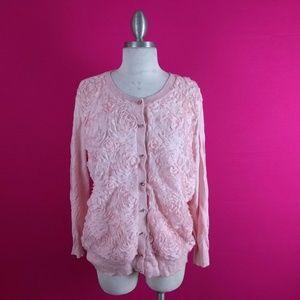 @ New York & Company sz XL Rosette Pink Cardigan